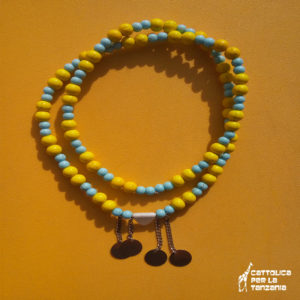 Collana perle azzurra gialla