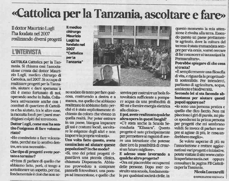 Cattolica per la Tanzania, ascoltare e fare